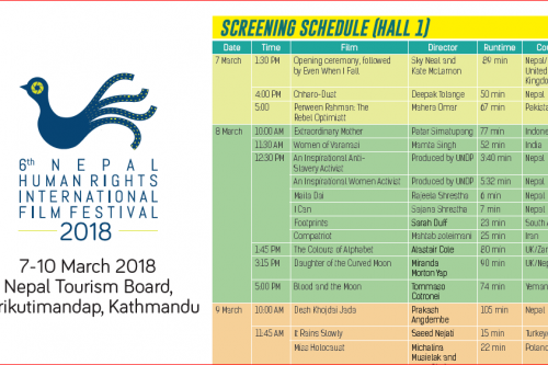 Screening Schedule for 6th NHRIFF 2018
